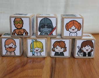 6 STAR WARS Character Wooden Blocks