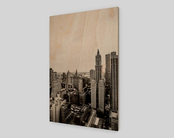 New York City Scape Wood Print, 1:50 Limited Edition / home decor / decoration / photo / photography / black and white /.