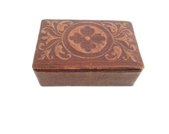 NEVER USED - Vintage embossed Genuine Leather Box - leather box - leather box - Trinket Box - Leather Jewelry Box - Genuine Leather Box
