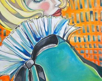 Porcelain Series - Blue Cloak - Oil on Canvas