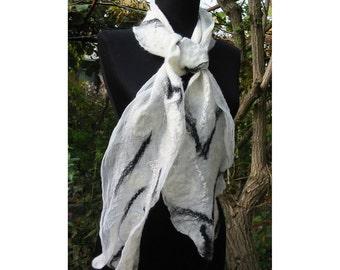 Nuno Felt Scarf,AU Merino wool Felt Scarf,Felt Wrap Shawl,Woman Shawl,European Art Design,Nuno Felt Skarf,Black  White Scarf,Handmade,OOAK