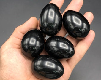 Black onyx eggs - natural black onyx - beautiful eggs - natural stone eggs - best healing stone eggs - size 55x35mm weight 70-100 grams