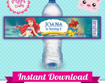 Ariel 01 Bottle Labels Editable Text in PowerPoint English and Spanish The Little Mermaid