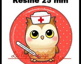 Round cabochon resin 25 mm - OWL stick (2243) - nurse, doctor, medical