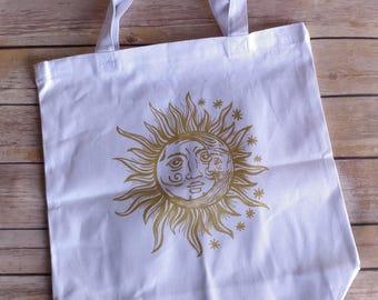 Sun moon stars tote shopping market bag