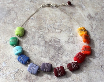 Rainbow necklace. Chakra necklace. Colorful necklace. Statement necklace. Colour wheel. Bead necklace. Handmade jewelry. Gift for her.