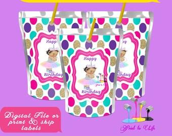 Unicorn Capri sun, kool aid , Juice pouch  Digital or Printed  birthday label