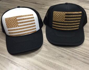 American Flag Trucker Hat Fourth Of July Memorial Day Patriotic Womens Trucker Hat Glitter American Flag