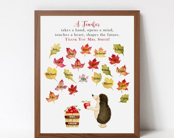TEACHER Gift Print - Personalized Print with Student Names - Class Gift - End of Year Present - Custom Art Print - Gift for Teachers