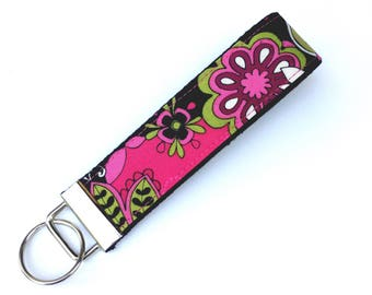 Floral Key Fob Keychain, Wristlet, Gift for Her, Teacher Gift, Keychain for Women, Gift for Grandma, Gift for Mom, Gifts Under 10