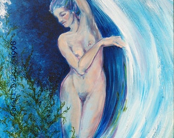 Nude painting, Abstract painting, Original Painting, Highly Textured,  Modern art, Female Nude, Nude figure, oil paintingteal blue,