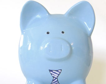 Piggy Bank with Neck Tie - Personalized Piggy Bank - Men's Piggy Bank - Piggy Bank with Business Suit - Manly Bank - with hole or NO hole