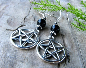 Pentagram with Obsidian earrings, Wiccan earrings