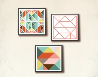 Scandinavian Square Poster Set III. 3 geometric art square prints 20 x 20cm, affiches scandinaves. Arts and prints by TANGRAMartworks