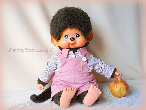 Large old Sekiguchi Monchhichi boy from 1974, XXL 18 inch, original clothes