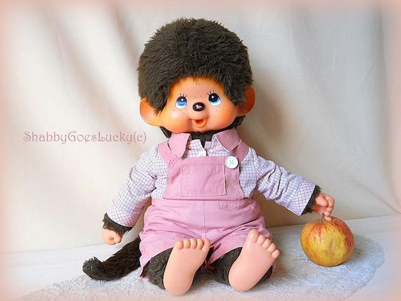 Large old Sekiguchi Monchhichi boy from 1974, XXL 18 inch, original clothes
