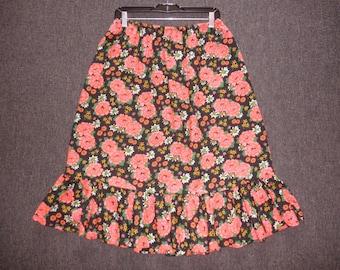 70's rose floral prairie skirt 1970's neon rose hippie folk flower power ruffle hem skirt / Woodstock / Love Child / plus size 16 18 XL XXL