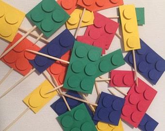 Building Blocks Cupcake Topper, Building Blocks Cupcake Picks