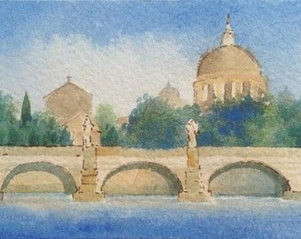 ACEO Original watercolor painting - When in Rome…