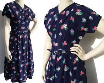 Vintage 40s Dress Navy Blue Floral Rayon & Pink Roses Swing Era M