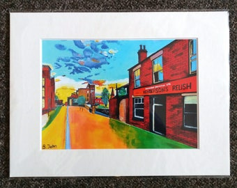 "Limited edition print - Leavygreave Road (Henderson's relish), Sheffield  - A3, A4 or 7"" x 5"" Print of an Original Painting by Bryan John"