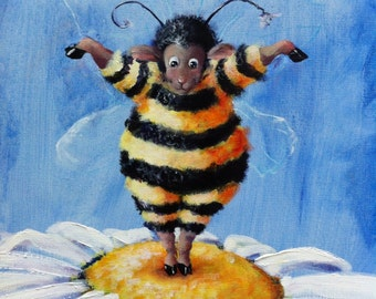 BEE EWE - Sheep Incognito Print, Kids Art, by Conni Togel