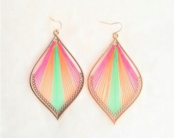 Multicolored Vintage Earring Threaded Hoop Dangle Drop Earring, Statement Earring