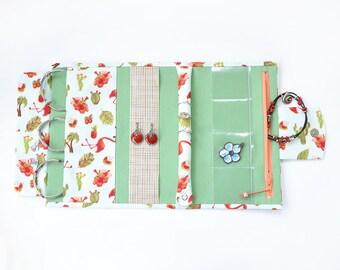 Hawaii Jewelry roll Travel case Fabric jewelry organizer Jewelry bag Jewelry storage Earring organizer Travel jewelry case Flamingo