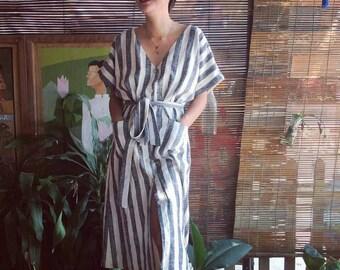 Loose linen dress , wraparound summer dress , jumper linen dress