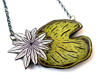Lily Pad Necklace - Come Float in My Pond - Olive Green, Lavender, White