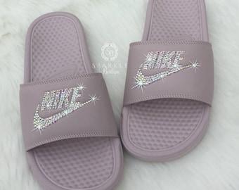 Nike Slides - Swarovski Nike  - Crystal Sandals - Bedazzled Nike - Nike Benassi JDI Slides - All Sizes - Rose Color - Sparkly Nike Slides