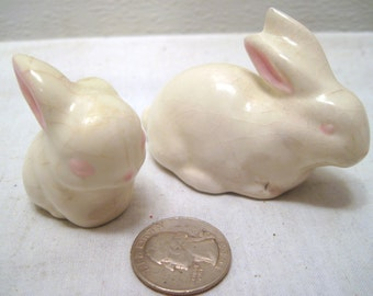 Miniature, Ceramic, Easter, Holiday, White, Bunny, Figurine, Spring, Pink, Eye, Mom Baby, Retro, Mid Century, Animal, Ornament, Decor, Gift