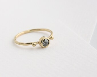 Diamond Engagement Ring, Rose Cut Diamond ring , Salt and Pepper Diamond, 14k yellow gold, round conflict free diamond, recycled 14k gold,