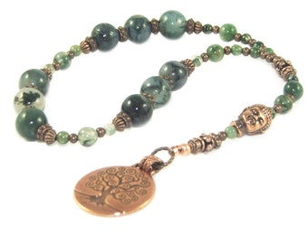 Tree of Life Prayer Beads, Moss Agate and Copper, Meditation Beads