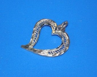Large Sterling Silver Filigree Open Center Puffed Heart Pendant