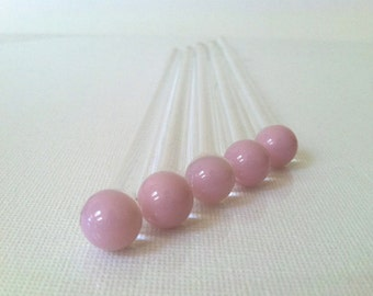 Pink Swizzle Sticks, Glass Swizzle Sticks, Glass Custom Swizzles, Glass Rods (5 pack) made of Borosilicate