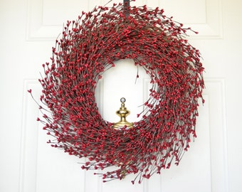 Red Burgundy Berry wreath - Christmas wreath - Front door decor - Holiday wreath