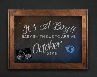 It's A Boy! Customized Last Name, Pregnancy Announcement, Chalkboard sign, PRINTABLE sign, with ultrasound or sonogram, blue footprints