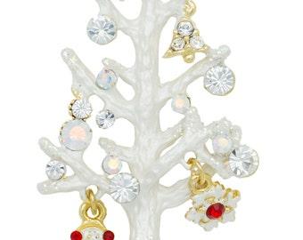 Swarovski Element Crystals White Twig Christmas Tree Pin Brooch