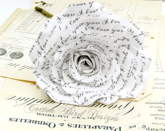 2 year anniversary Long Stem White Rose I love  you Flowers by Cotton Bird Designs