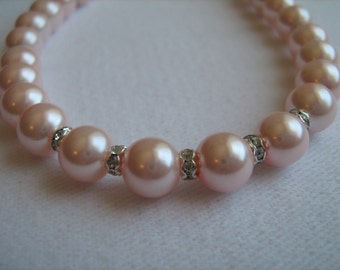 Necklace - Pink Glass Pearl