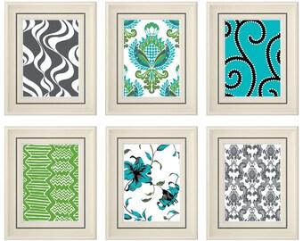 Set of Six Modern/Vintage Green/Gray Wall Art -8x11 Print Set (Unframed)