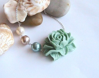 Teal Rose Necklace, Rose Pearl Necklace, Cabochon Rose Necklace, Bridal, Wedding, Bridesmaids, Green Rose, Green Flower, Soft mustard green