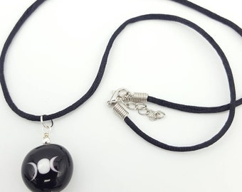 minimalist pagan necklace, moon bead, wiccan gift, lunar jewellery, gothic gift, witchcraft old ways, maiden mother crone triple moon godess