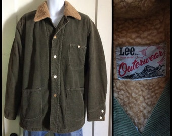 1970's Lee Outerwear fleece lined corduroy chore jacket looks size XXL 2XL olive green Union Made
