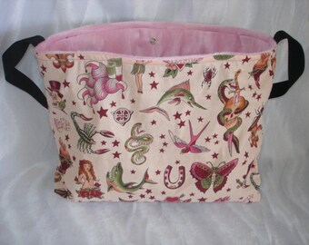 Tattoo PINK punk rockabilly baby diaper bag tote or purse choose your own FABRIC
