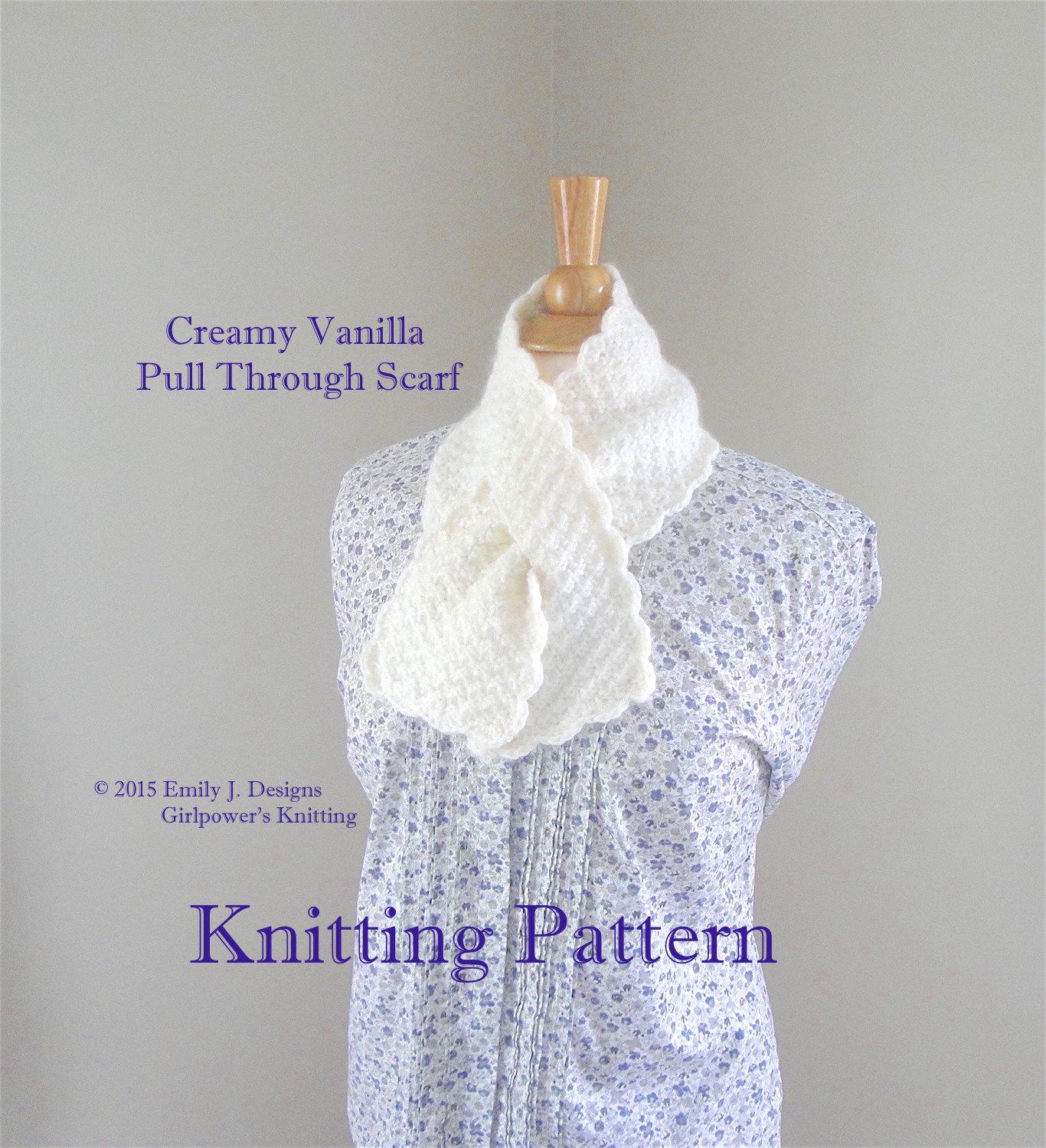 Pull Through Scarf PDF Knitting Pattern, Worsted Yarn Lion Brand ...