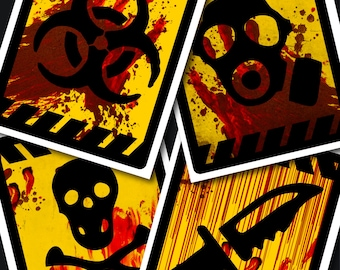 Zombie Party Caution Signs, Walking Dead Party Decor, Blood Spatter, Horror Party Posters, Zombie Party Posters, Halloween Party Poster