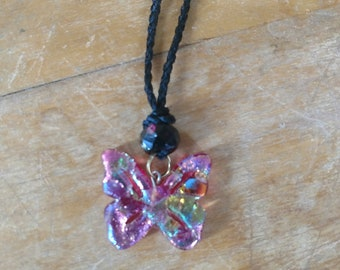 Handmade Fused Glass Butterfly Necklace