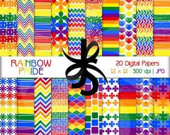 Digital Scrapbook Papers-Rainbow Pride-Rainbow Clipart-Rainbow Papers-Rainbow Patterns-Rainbow Hearts-Backgrounds-Instant Download Clip Art